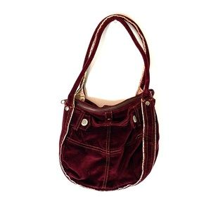 GAP KIDS | Maroon Velvet Velour Multi-Pocket Purse